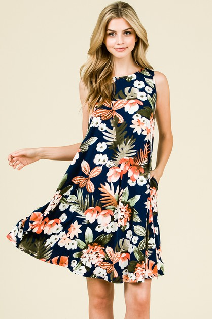 RELAXED FLORAL SWING DRESS - orangeshine.com