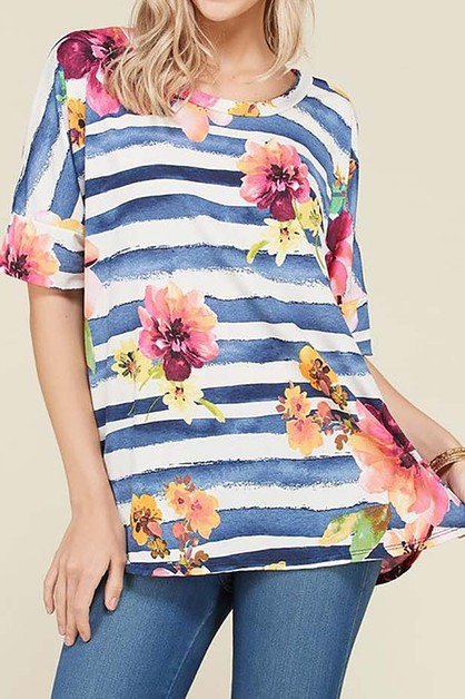 WATER COLOR STRIPE AND FLORAL TUNIC - orangeshine.com