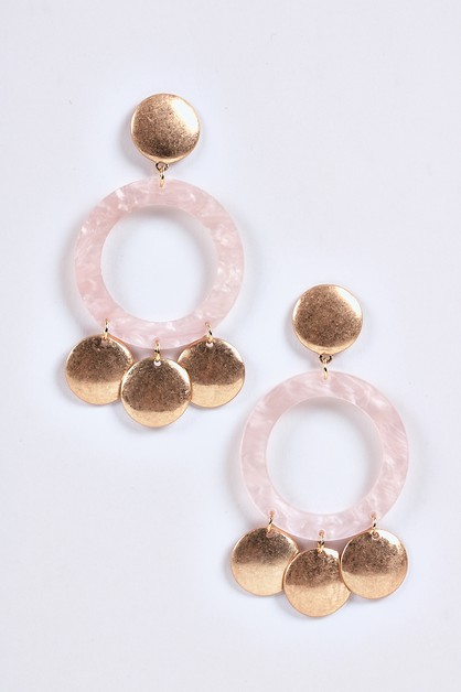 Lucite Golden Coin Disks Earring Set - orangeshine.com
