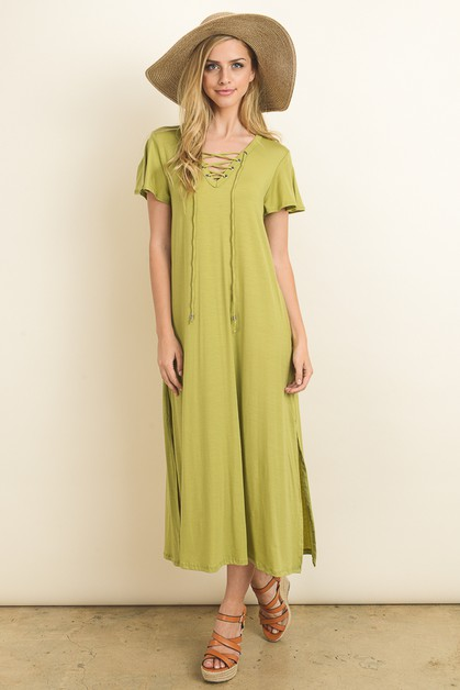 Solid tencel a-line maxi dress - orangeshine.com