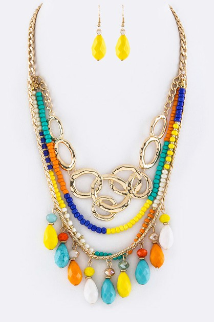Linked Hoops Mix Beads Necklace - orangeshine.com