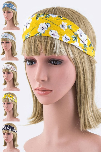 Floral Print Stretch Headbands Set - orangeshine.com