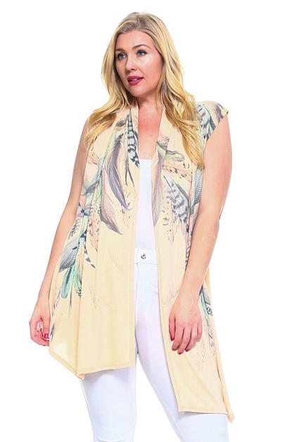 Feather Print Vest - orangeshine.com