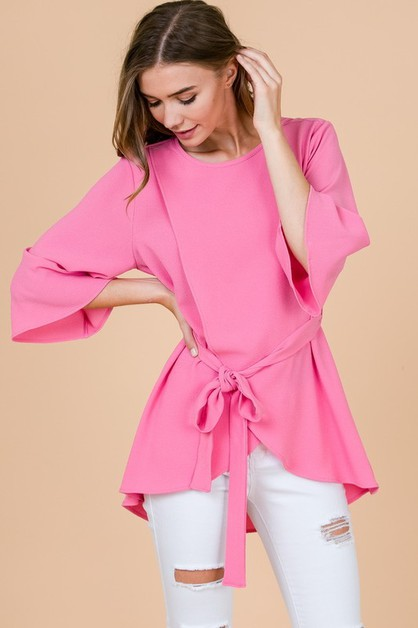 SOLID BELL SLEEVE TOP - orangeshine.com