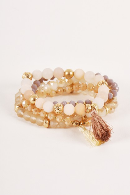 Soft Beaded Stretchy Bangle Bracelet - orangeshine.com
