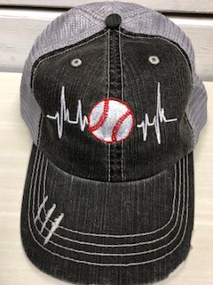 Baseball Heartbeat Trucker Hat - orangeshine.com