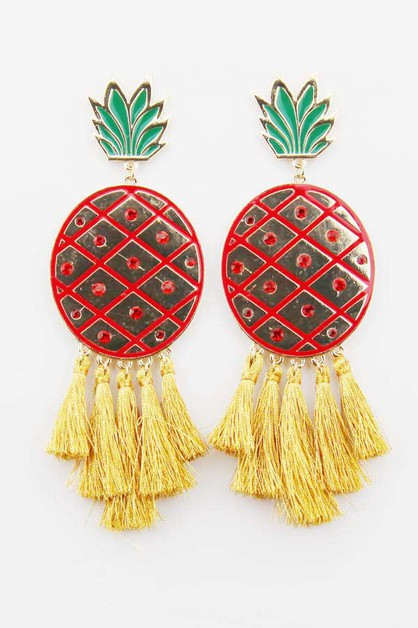Cartoonish Pineapple Tassel Earrings - orangeshine.com