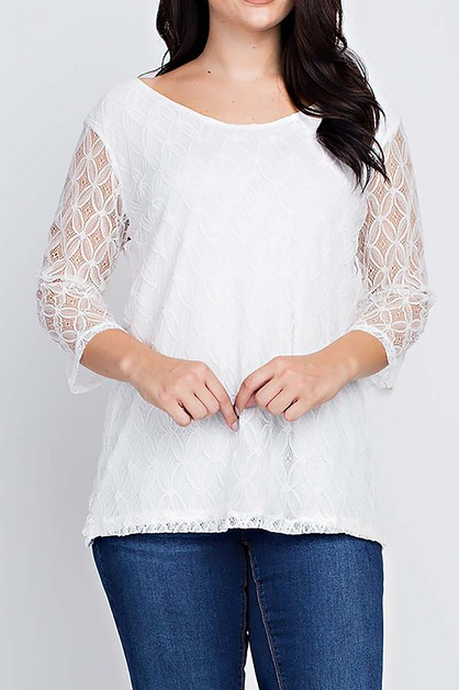 LACED AND LINED PLUS SIZE BLOUSE TOP - orangeshine.com