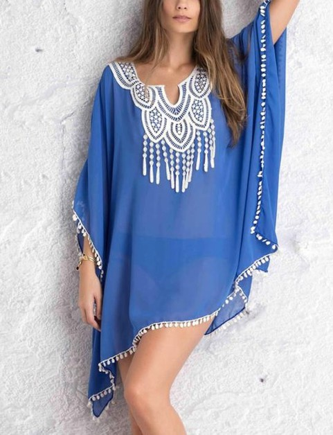 Tassel Lace Bikini Cover Up - orangeshine.com
