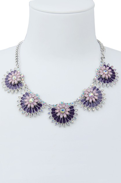 Purple Floral Statement Necklace - orangeshine.com