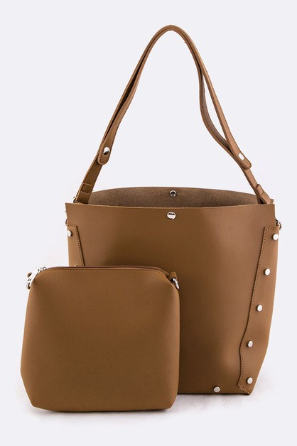 Convertible Studded Tote and Pouch - orangeshine.com