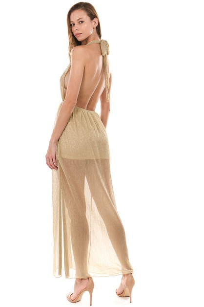 HALTER NECK SEE THROUGH MAXI DRESS - orangeshine.com