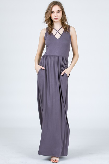 CRISSCROSS MAXI DRESS  - orangeshine.com