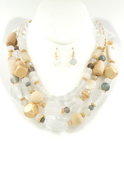 Layered Assorted Bead Necklace Set - orangeshine.com