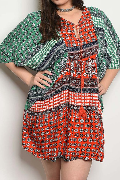 TRIBAL PRINT FLUTTER SLEEVE PLUS DRE - orangeshine.com