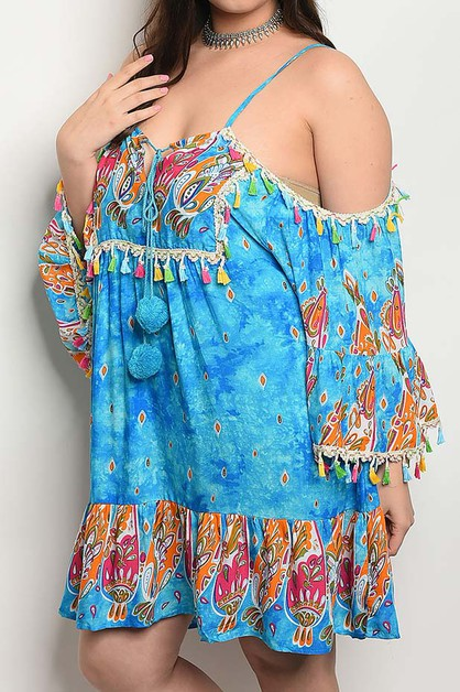 OFF SHOULDER TASSEL TRIM BELL SLV DR - orangeshine.com
