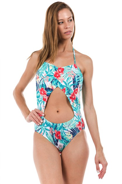 FLORAL PRINT ONE PIECE - orangeshine.com