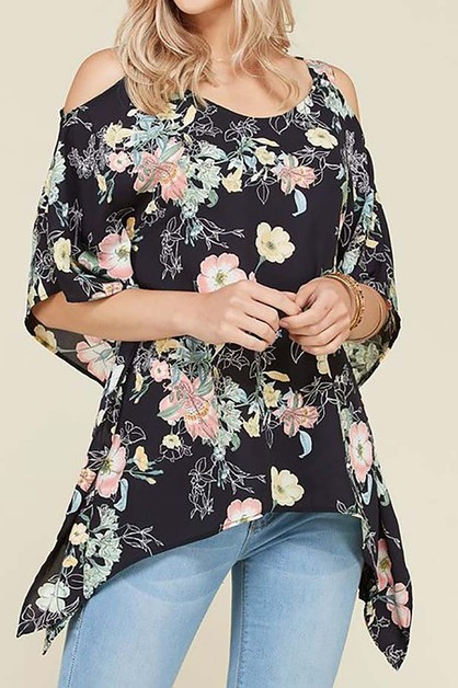 COLD SHOULDER FLORAL PRINT TOP - orangeshine.com