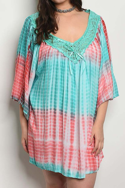 V NECK LACE TRIMMED TIE DYE DRESS - orangeshine.com