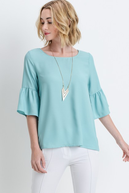 Top with Bell Sleeves - orangeshine.com