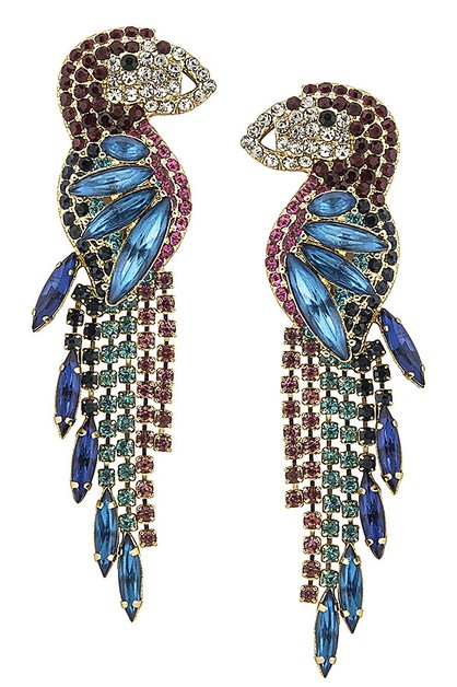 Showy Jeweled Parrot Earrings - orangeshine.com