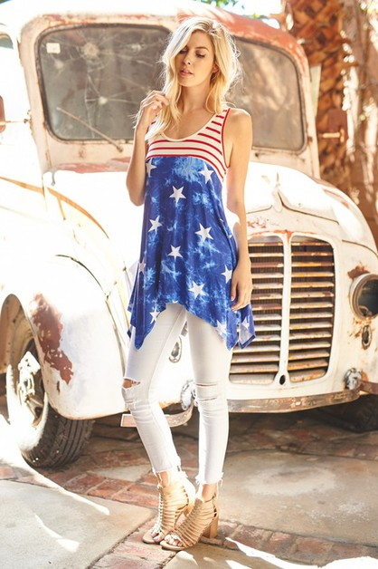 4th of July American Flag Tunic Top - orangeshine.com