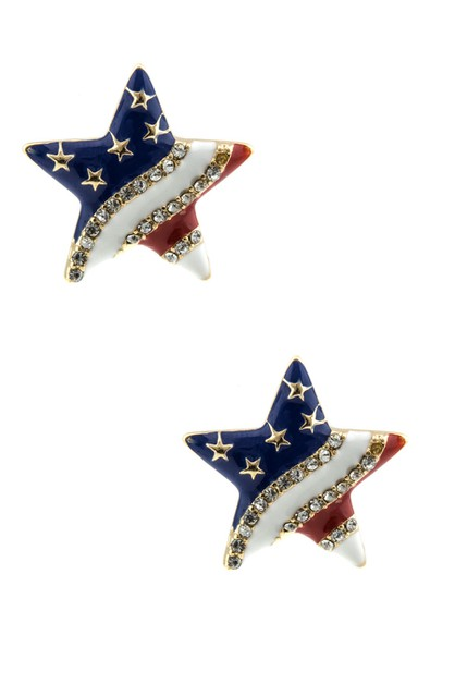 Star with the American flag Earrings - orangeshine.com