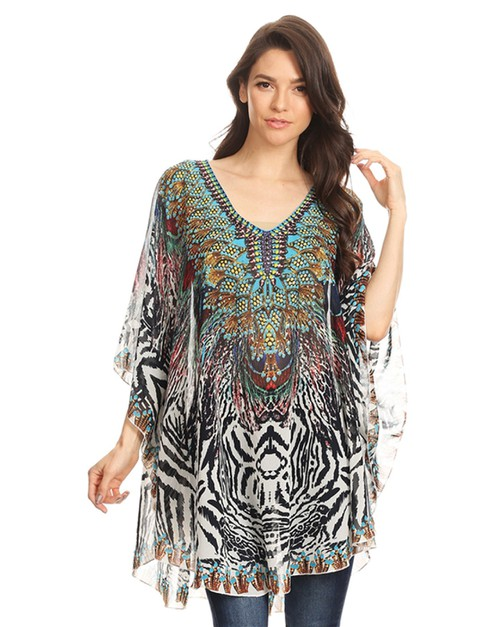animal print poncho top - orangeshine.com