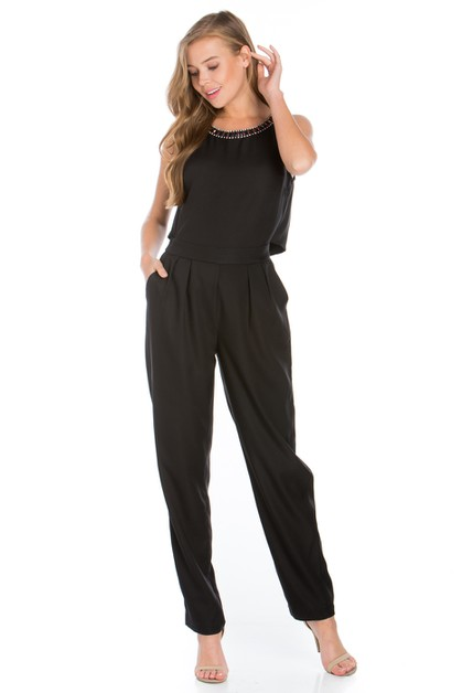 JEWELED JUMPSUIT WITH OPEN BACK - orangeshine.com