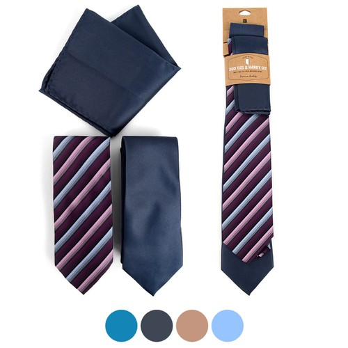 Striped Two Ties and Hanky Set - orangeshine.com