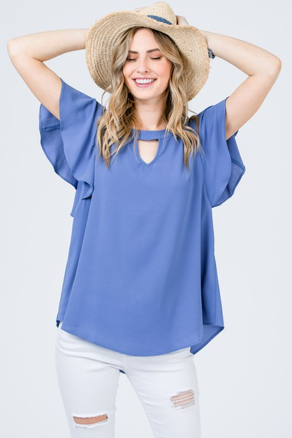 Short-sleeve top with keyholes - orangeshine.com