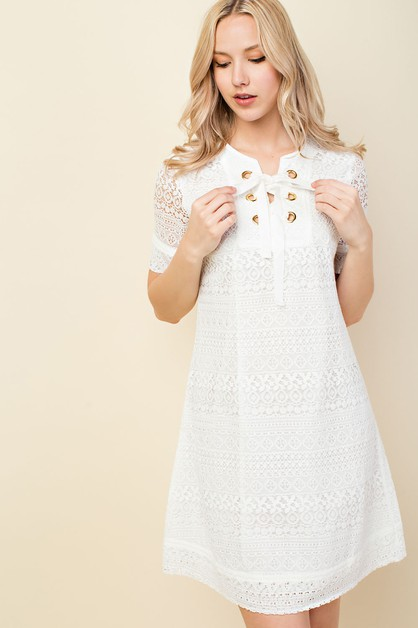 boho lace overlay lace-up dress - orangeshine.com