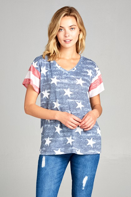 AMERICAN FLAG V NECK SHORT SL TOP - orangeshine.com
