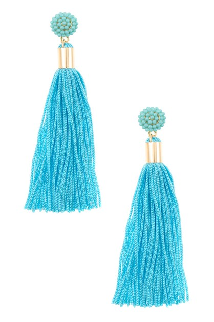 BEAD TASSEL CORD LARGE DANGLE EARRIN - orangeshine.com
