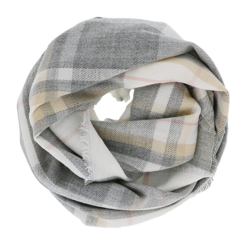 Grey Plaid Infinity Scarf - orangeshine.com