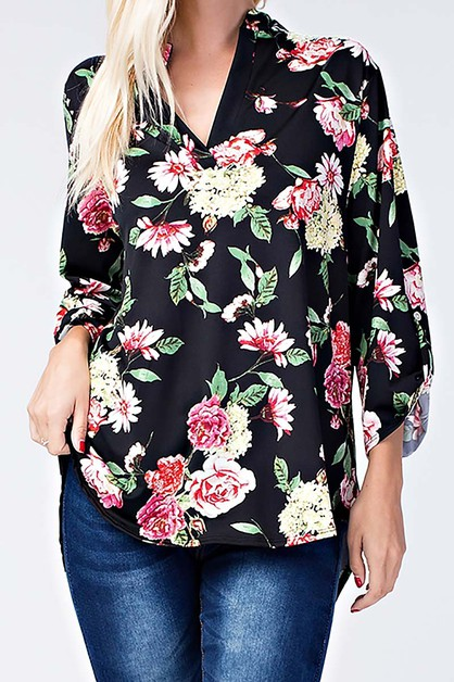 FLORAL PLUS NOTCH NECK BLOUSE TOP - orangeshine.com