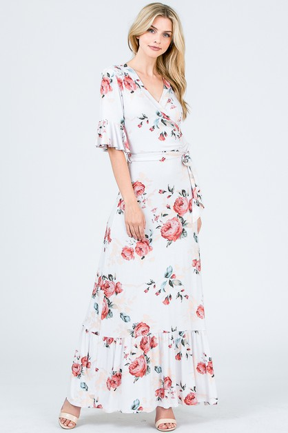 WRAP MAXI FLORAL DRESS - orangeshine.com