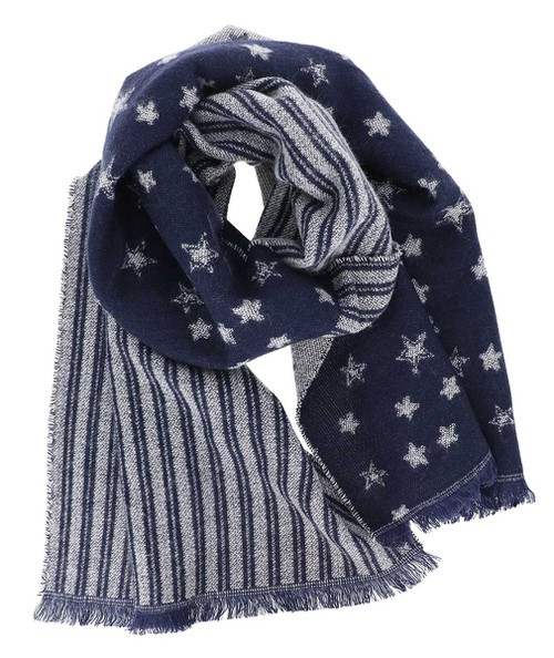 Striped Star Navy Oblong Scarf - orangeshine.com