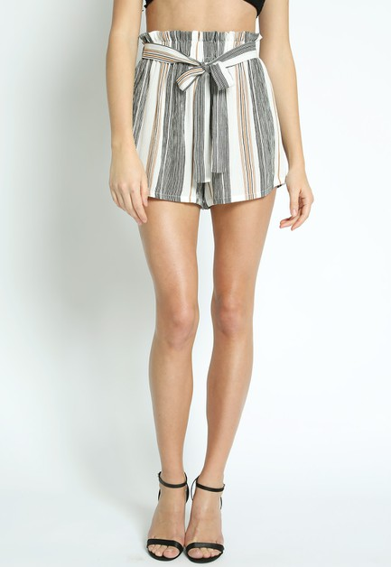 STRIPED HIGH WAIST SHORTS  - orangeshine.com