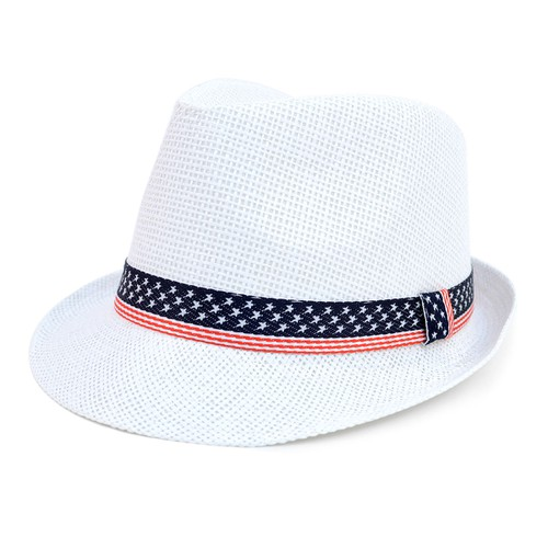 Spring-Summer USA Flag Fedora Hat - orangeshine.com