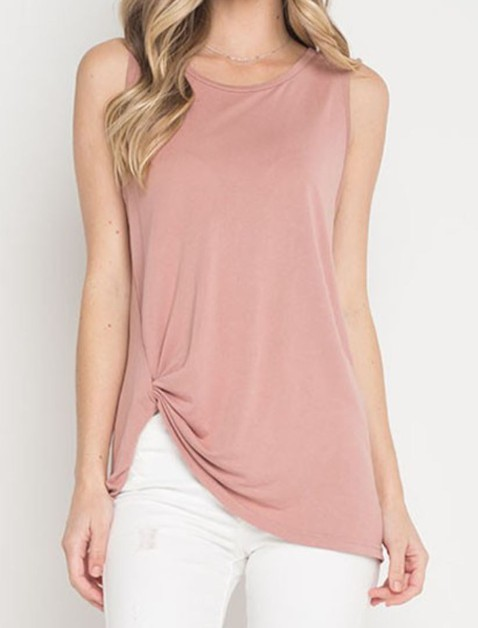 SIDE KNOT FRONT SLEEVELESS TANK TOP  - orangeshine.com
