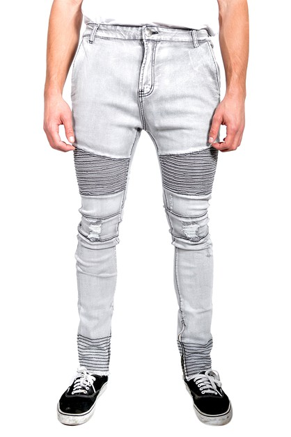Ripped Stretch Moto Skinny Jeans - orangeshine.com