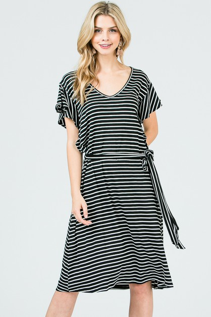 STRIPE MIDI DRESS BELTED RUFFLED  - orangeshine.com