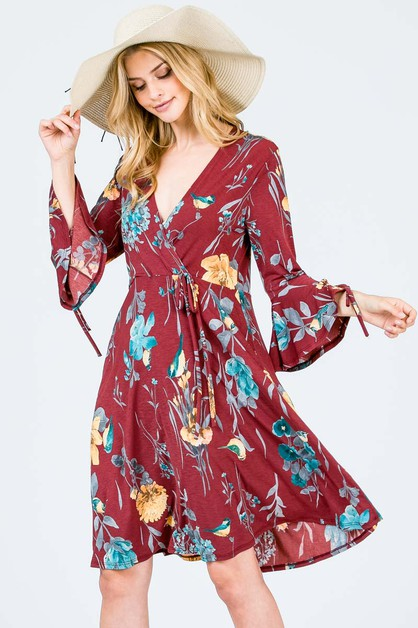 floral print wrap dress with sleeve - orangeshine.com