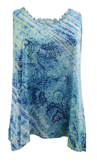 Plus Size Blue Lace Back Tank - orangeshine.com