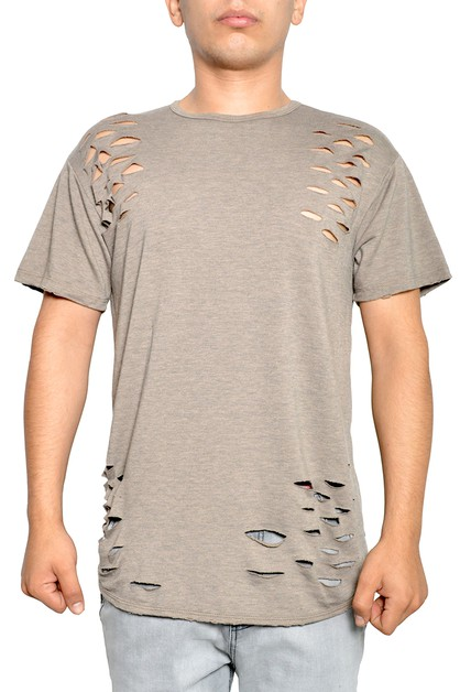 Distress Short Sleeve Jersey T-Shirt - orangeshine.com