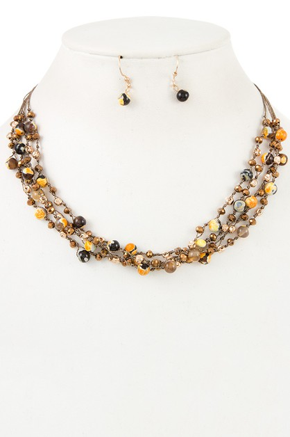JEWEL BEAD MULTI ROW NECKLACE SET - orangeshine.com