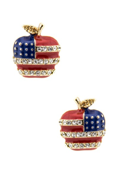 Apple with the American flag Earring - orangeshine.com