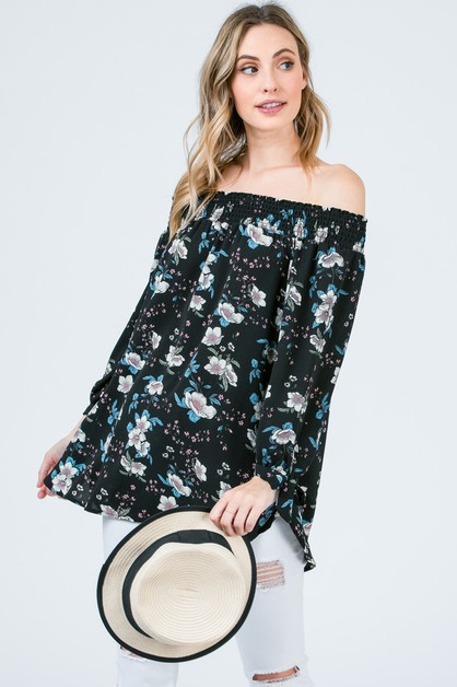 Floral print top with sleeve tie - orangeshine.com