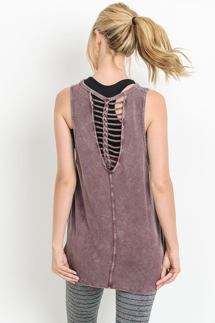 Braided-Strap-V-Back Blouse - orangeshine.com